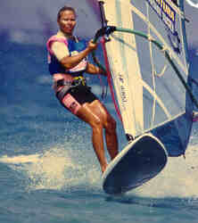 Sabine...Competing in the Windsurfing World Cup Fuerteventura 1991